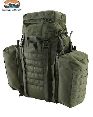 TACTICAL RUCKSACK 90 LITRE ASSAULT BERGEN & SIDE POUCHES GREEN BRITISH ARMY