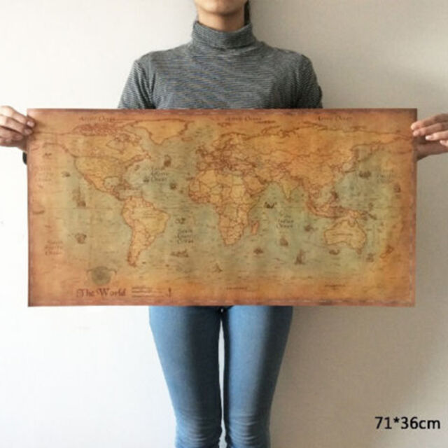 The old World Map large Vintage Style Retro Paper Poster Home decor 100cmx51cm #