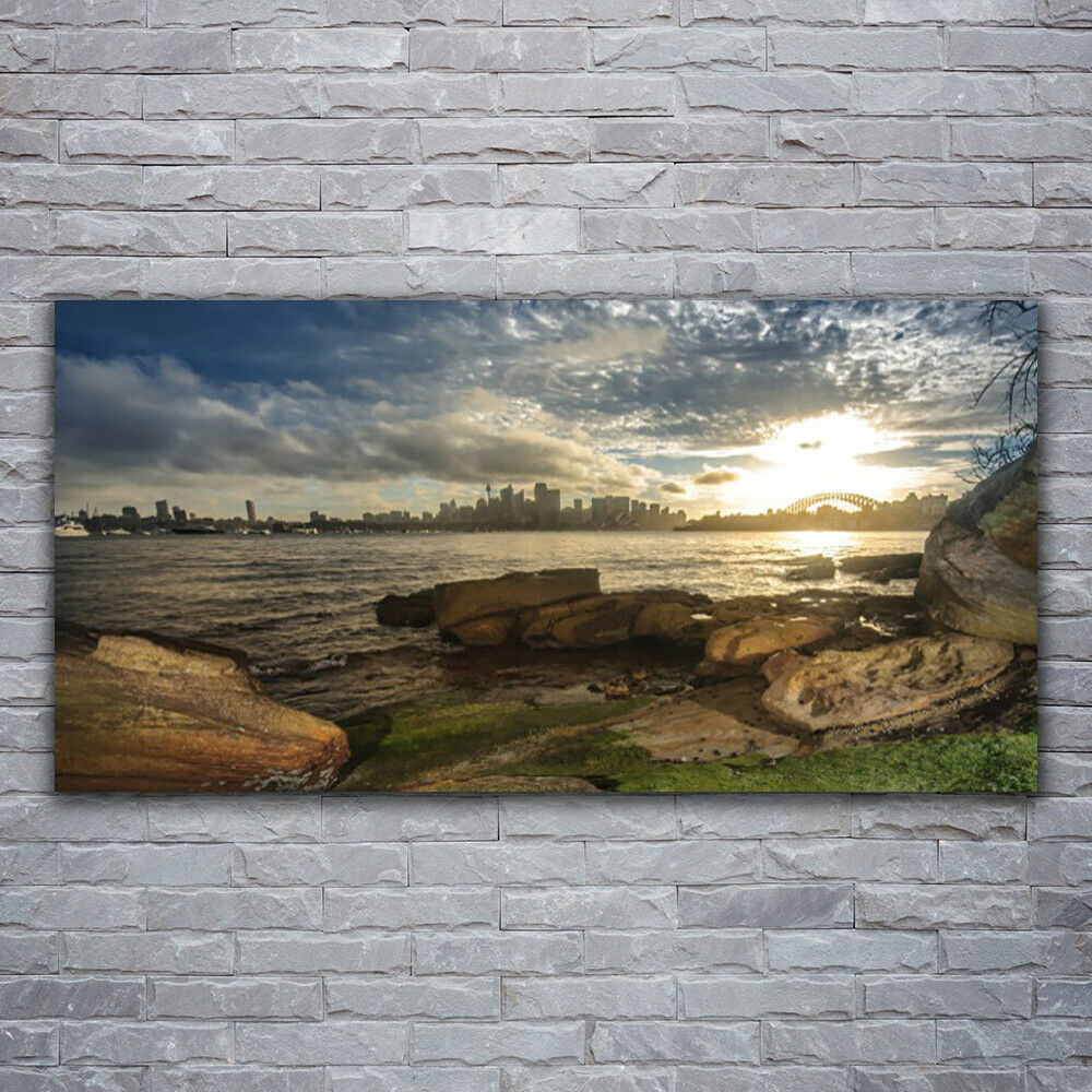 Verre Imprimer Wall Art Image 120x60 Photo Mer Pierres paysage urbain