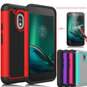 For Motorola Moto G4/G Play Shockproof Hybrid Armor Case+ Glass Screen Protector