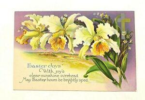 Antique-1907-15-034-Easter-Joys-034-With-joys-clear-sunshine-White-flowers-PC-614