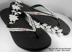 b330196e7 Image is loading Havaianas-Slim-Flip-Flops-with-Swarovski-Crystals-Bridal-