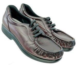 SAS-Take-Time-Loafer-Women-039-s-8-5-M-Burgundy-Leather-Tripad-Comfort-Lace-Shoe-USA