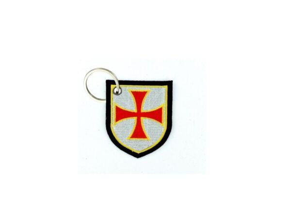 100% Vero Portachiave Chiavi Ricamo Toppa Morale Motociclista Bandiera Emblema Templari R2