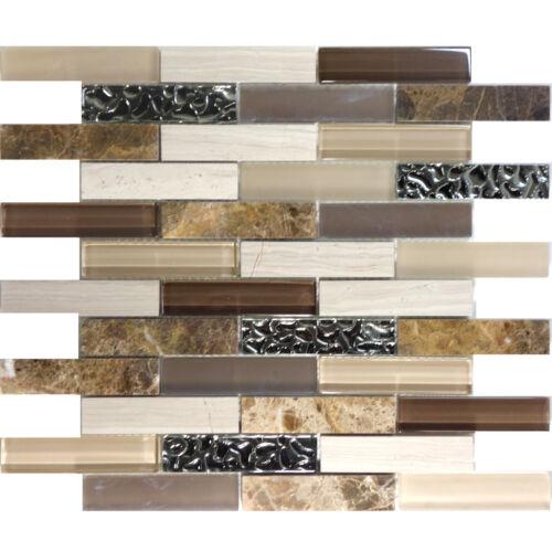 Emperador White Oak Marble Blend Metallic Silver Glass Mosaic Tile Backsplash