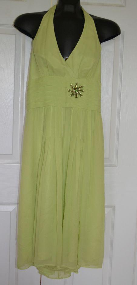 MAGGY LONDON Grün Tea Silk Embellished Halter Empire Waist Dress Sz 4