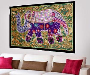 HANDMADE-ELEPHANT-BOHEMIAN-PATCHWORK-WALL-HANGING-EMBROIDERED-TAPESTRY-INDIA-X42