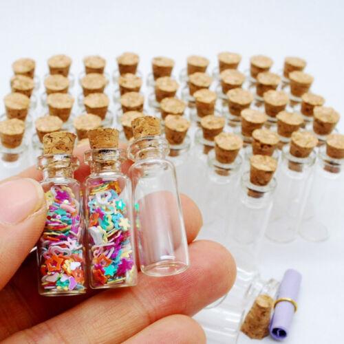 10 Stk Klar Flasche Glasflasche Wishing Glück Glasfläschchen mit Korken