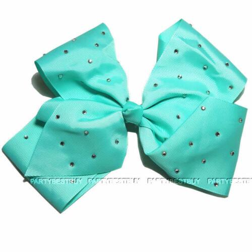 "8/"" Large Ladies//girls Crystal Diamante Rhinestone Grosgrain Ribbon Bow Hair Clip"