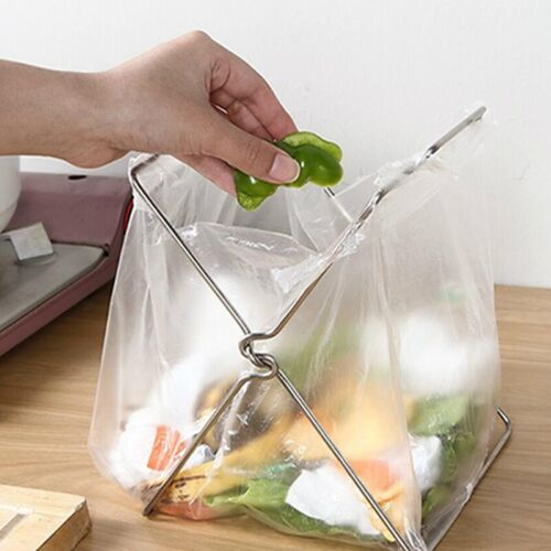 Kitchen Portable Door Garbage Waste Bag Can Trash Bin Stand Rack Hanger N3