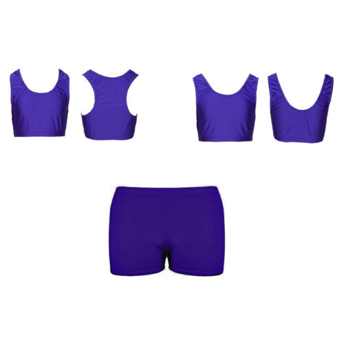 PAPAVAL KRBSP Kids Girls Lycra Dance Gym Sports Racer Back Top /& Shorts Pack