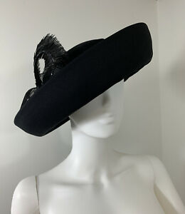 Deborah-Fashions-Stunning-Black-High-Elegance-Hat-With-Bow-Ribbons-amp-Feathers