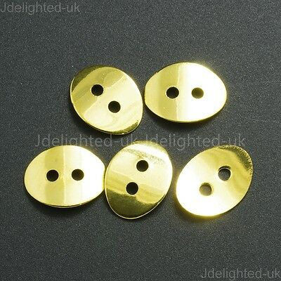 Metal Oval 2 Holes Curved Button Closure Gold Silver Bronze Plated Over Copper