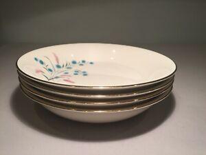 """Vintage Canonsburg """"Citation"""" Set (4) Coupe Soup Plates-Pink-Turquoise Floral"""