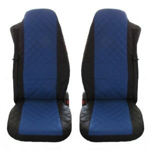 2//PAIR BLACK FABRIC TAILORED SEAT COVERS FOR VOLVO TRUCKS FH12 FH 16 FL FM FH16
