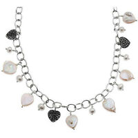 Ken Craft Sterling Silver Pearl Marcasite Charm Necklace- Nm2077mppl