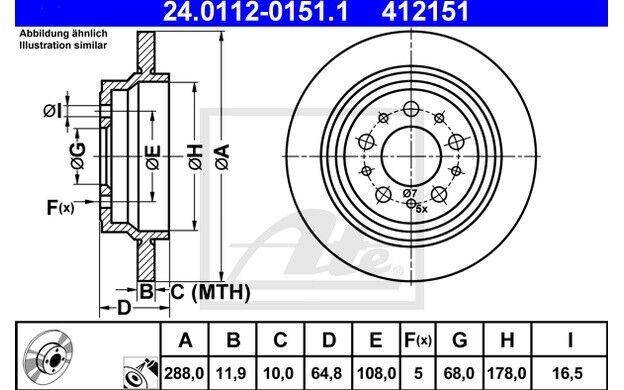 ATE Juego de 2 discos freno Trasero 288mm para VOLVO S60 S80 XC70 24.0112-0151.1