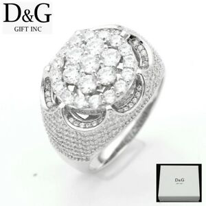 DG-Men-039-s-Sterling-Silver-925-ICED-OUT-CZ-Eternity-Rings-7-8-9-10-11-12-13-Box