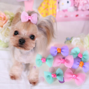 20PCS Pet Dog Hair Bows Small Puppy Cat Hair Clips Accessories Bowknot Grooming
