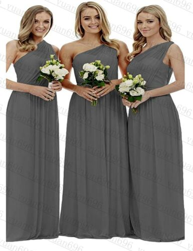 Long One Shoulder Chiffon Party Gown Prom Bridesmaid Evening Dresses Size 6-18