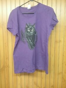 Black Cat Ripping Out Of A Purple Women's XL T-shirt