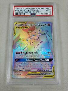 Charizard & Braixen GX PSA 9 MINT Cosmic Eclipse 251/236 Pokemon Card Secret
