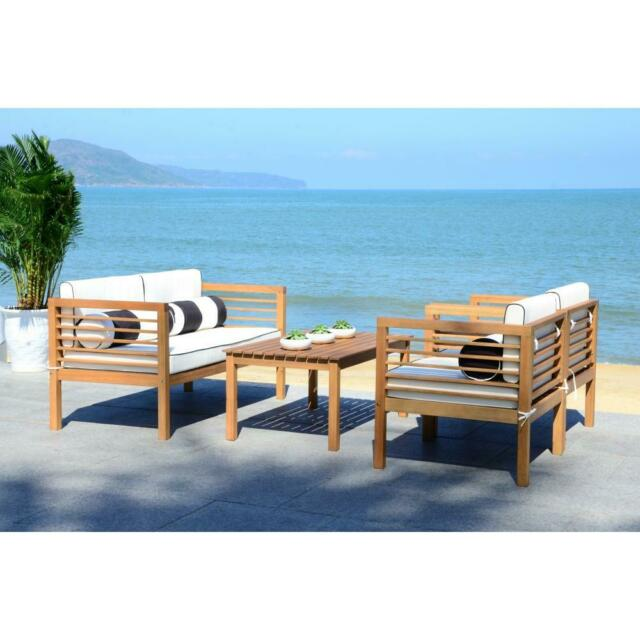 Brighton Patio Furniture.Outdoor Patio Furniture Set 4 Pc Armchair Bench Table Accent Pillows Lounge New