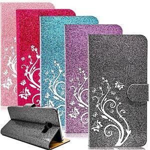 Handy-Tasche-Flip-Cover-Schutz-Huelle-Book-Case-Handyhuelle-Blumen-Etui-Wallet-Bag