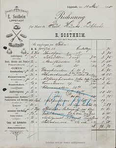 LIPPSTADT-Rechnung-1900-Anfertigung-von-Besen-Buersten-Pinsel-E-Sostheim