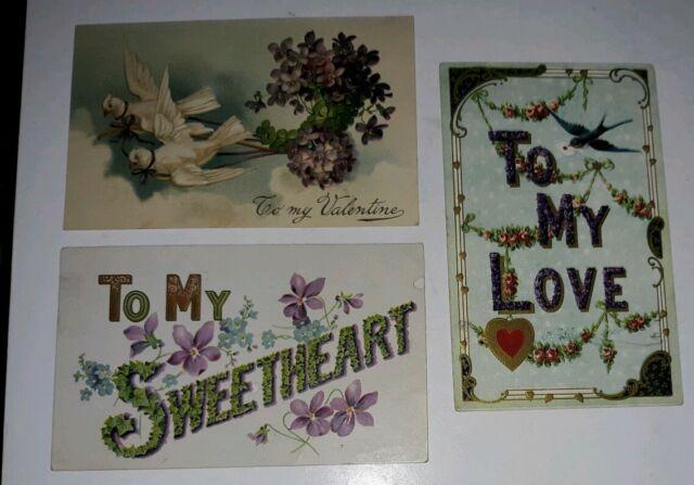 Antique VALENTINE Postcard Lot FLOWER Garland DOVE Violets BLUEBIRD Embossed WOW