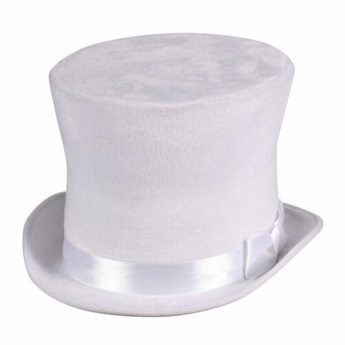 weißer Zylinder Hut Flair samtiger Zylinderhut weiss Chapeau Karneval Fasching