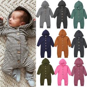 744566e2a AU Baby Kids Boys Girls Infant Hooded Romper Jumpsuit Bodysuit ...