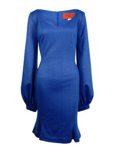 B-Michael-America-Women-039-s-Bishop-Sleeve-V-neck-Flare-Dress