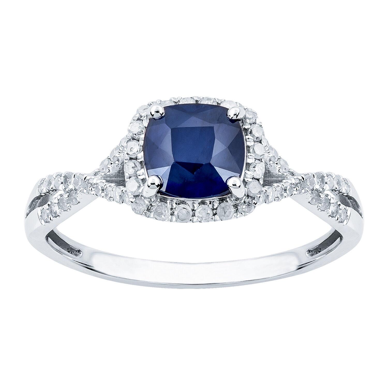 White gold Genuine Cushion-cut Sapphire & Diamond Halo Ring