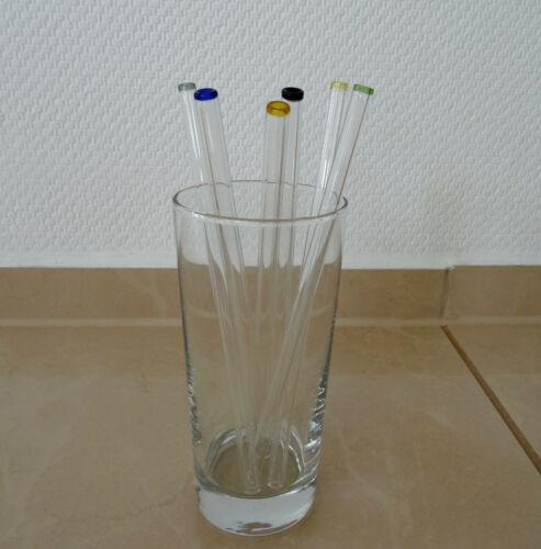 6x GLAS STROHHALM Trinkhalm Halm Trinkröhrchen Glasstrohhalm bunt Glasmarkierer!