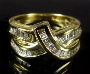 1Ct-Baguette-Diamond-Engagement-Anniversary-Wedding-Ring-14k-Yellow-Gold-Over