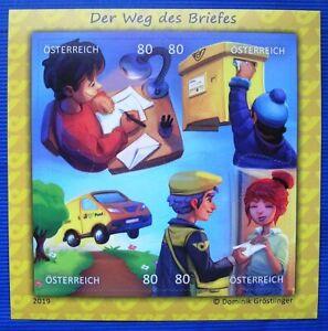 Comicmarken-Puzzle-Der-Weg-des-Briefes-Michel-BL102-Osterr-4W-Block-2019