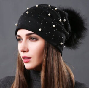 Image is loading Winter-Fashion-Hat-For-Women-With-Rhinestones-Pearl- 384f7883e013