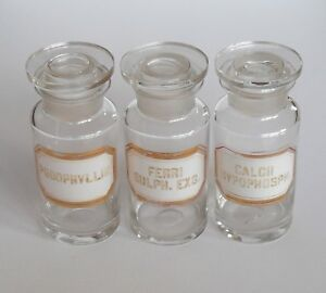 Details about Vintage Early 20th C Clear Glass Apothecary Bottles with  Enamel Labels