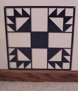 Barn-Quilt-Blue-Metal-12-034-x-12-034-Quilt-Block-Sign-Bear-039-s-Paw-Block-Pattern-BQSBBL