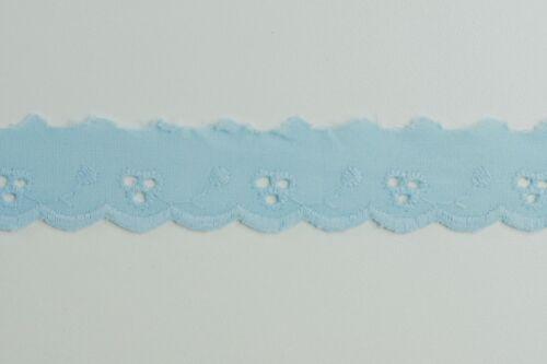 17 metres × 25mm Vintage Blue Broderie Anglaise Lace Trim 100/% Cotton