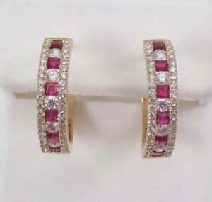2-25Ct-Princess-Cut-Ruby-amp-Diamond-Studded-Hoop-Earrings-14k-Yellow-Gold-Over