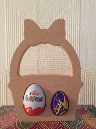 Gratuit Debout MDF Pâques panier-KINDER ou creme egg holders 20 cm Tall (18 mm)