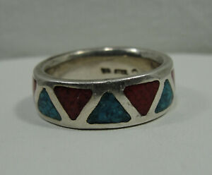 Sterling-Silver-Ring-Red-Coral-Blue-Topaz-925-R207