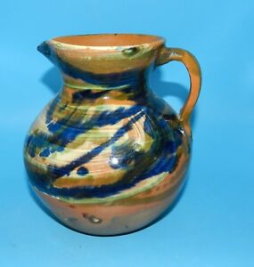 VINTAGE-CAZODE-SANFE-SWIRL-GLAZED-POTTERY-WATER-PITCHER-STAMPED-7-034-5-X-7-034-Dia