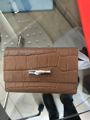 Portefeuille Compact En Cuir Longchamp De La Collection Roseau Croco Ebay