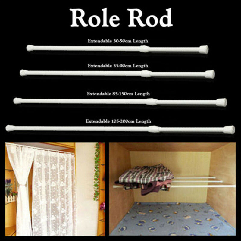Spring Load Extendable Telescopic Net Voile Tension Curtain Rail Pole Rod No 2
