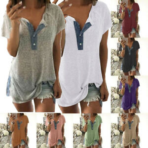Womens-Short-Sleeve-Loose-Plus-Casual-Button-Blouse-T-Shirt-Tank-Top-Pullover-AU