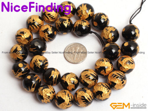 Natural Black Agate Onyx Carved Lucky Mala Beads For Jewellery Making Wholesale