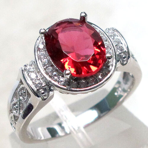 FASCINATING 3 CT RUBY OVAL CUT 925 STERLING SILVER RING SIZE 5-10